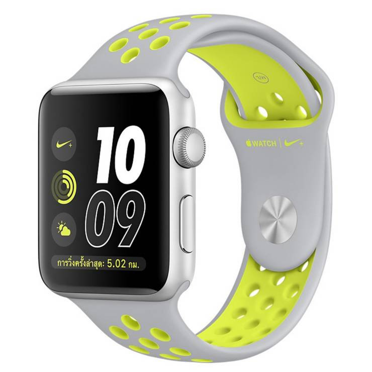 Watch Nike+ Series 2 (42mm, Silver Aluminum Case, Flat Silver/Volt Nike  Sport Band)