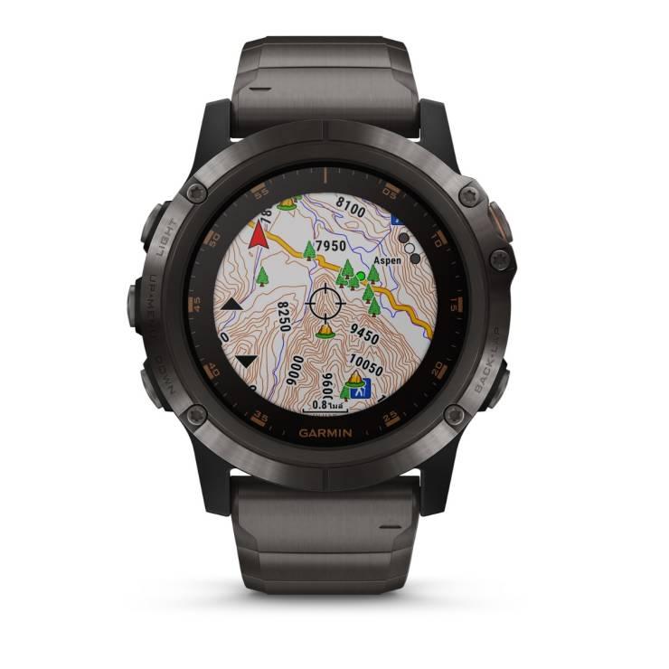 Smart Watch (51 mm, Titanium Sapphire Black) Fenix 5X Plus