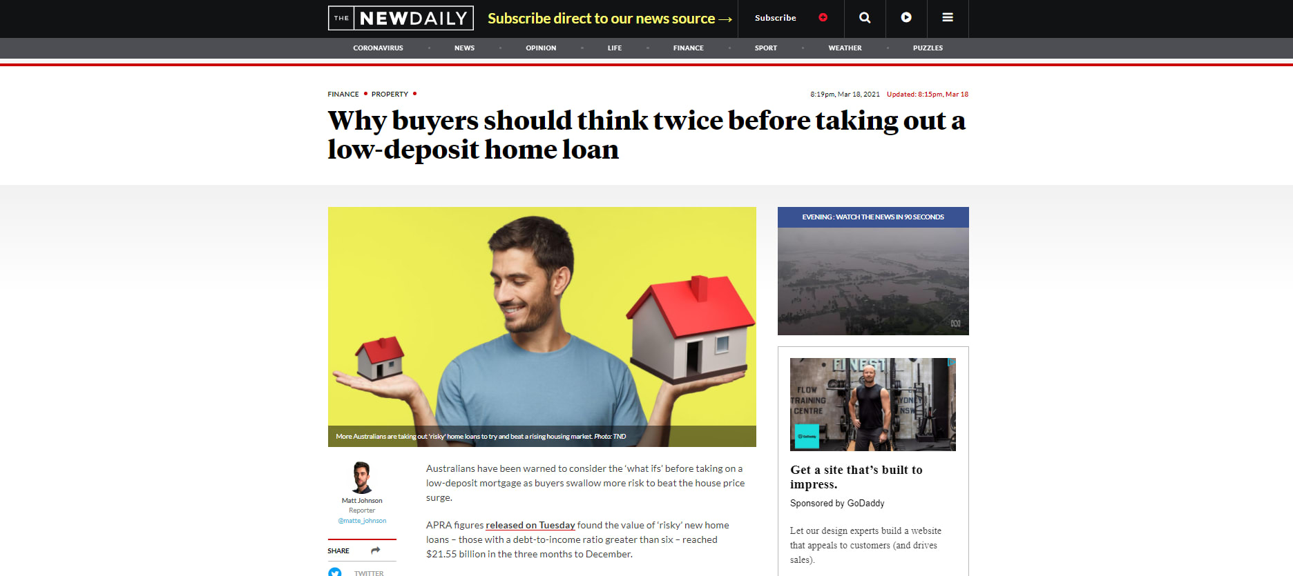 Why buyers should think twice before taking out a low-deposit home loan – The New Daily