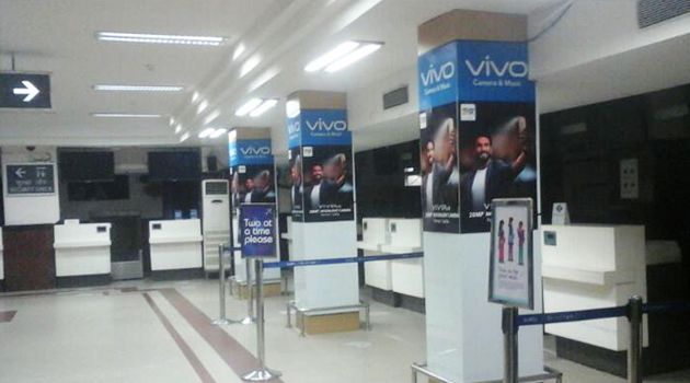 Vivo dominates high visibility areas of Patna airport image, Century Media