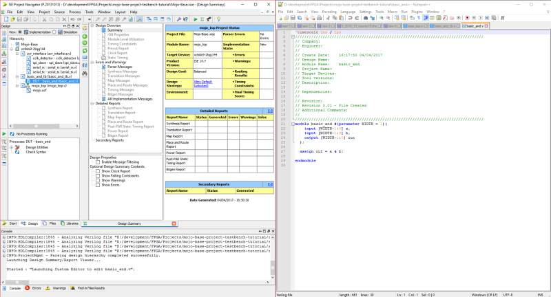 ISE and Notepad++ docked side-by-side
