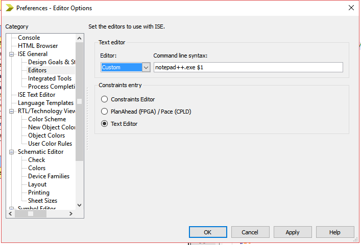Xilinx ISE Custom Text Editor Dialog