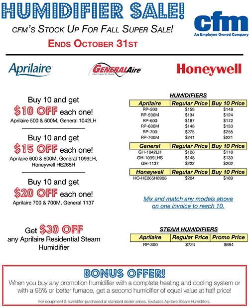 View our September humidifier sales