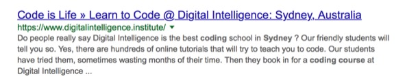 screenshot of Digital Intelligence google ad