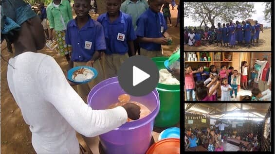 Video preview showing African women feeding sponsor children