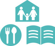 icon showing a family, a plate of food and an open book