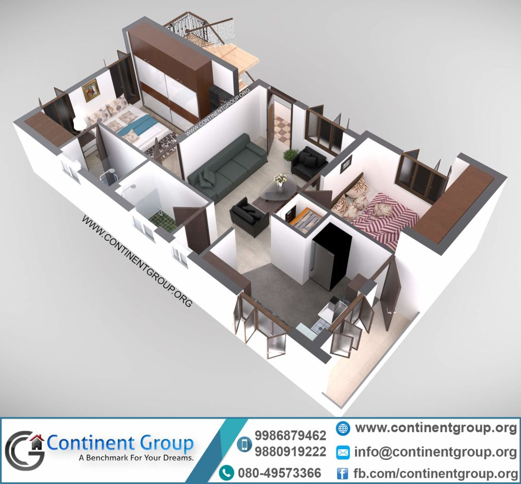 3d floor plan modern 2BHK