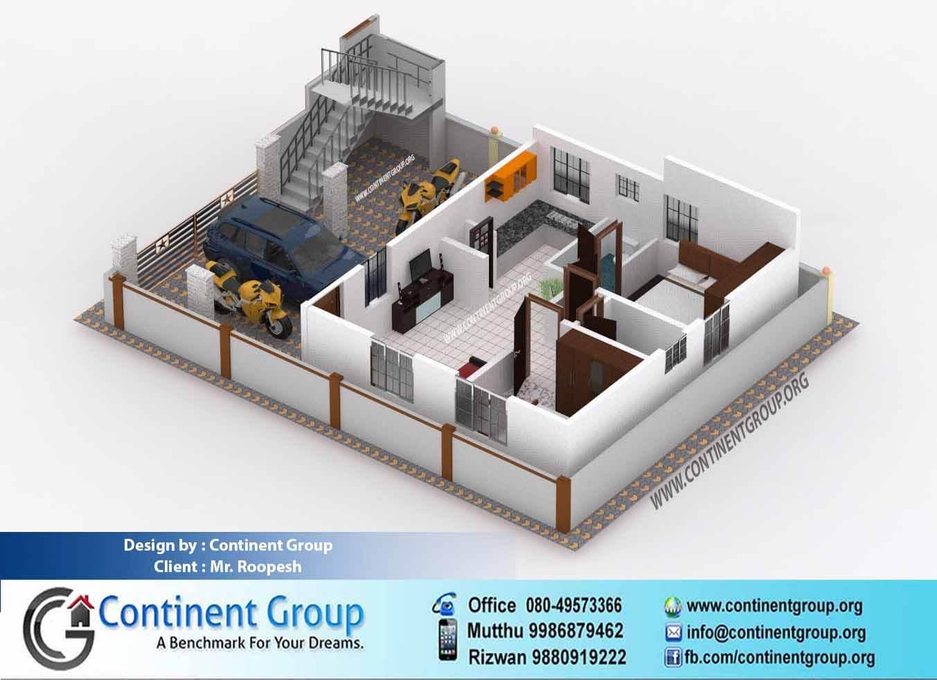 3d floor plan service in bangalore continent group - Floor plan 3d house building design ...