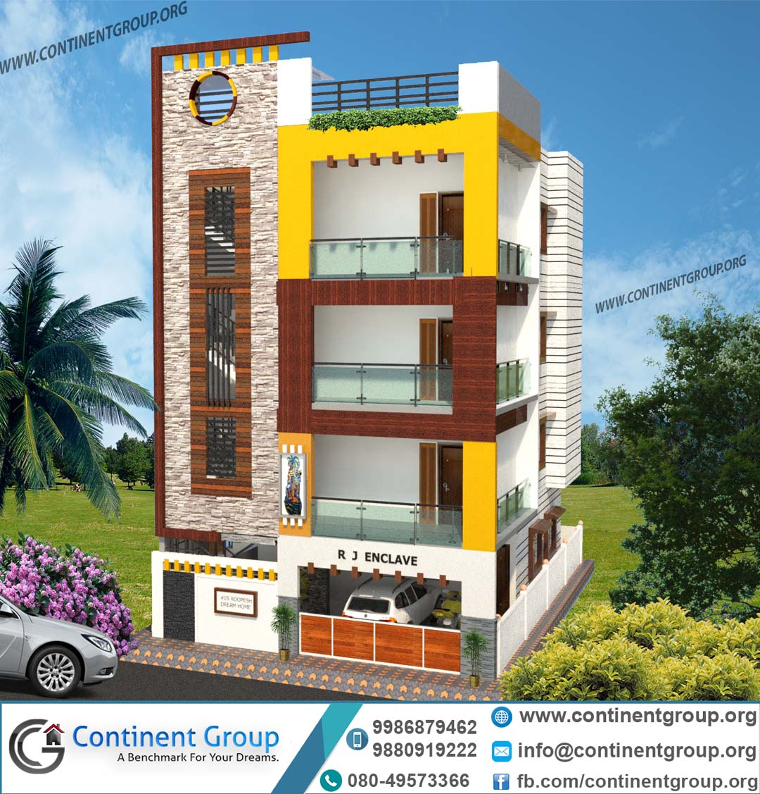 Home Front Elevation For 3 Floors : Apartment three floor house elevation