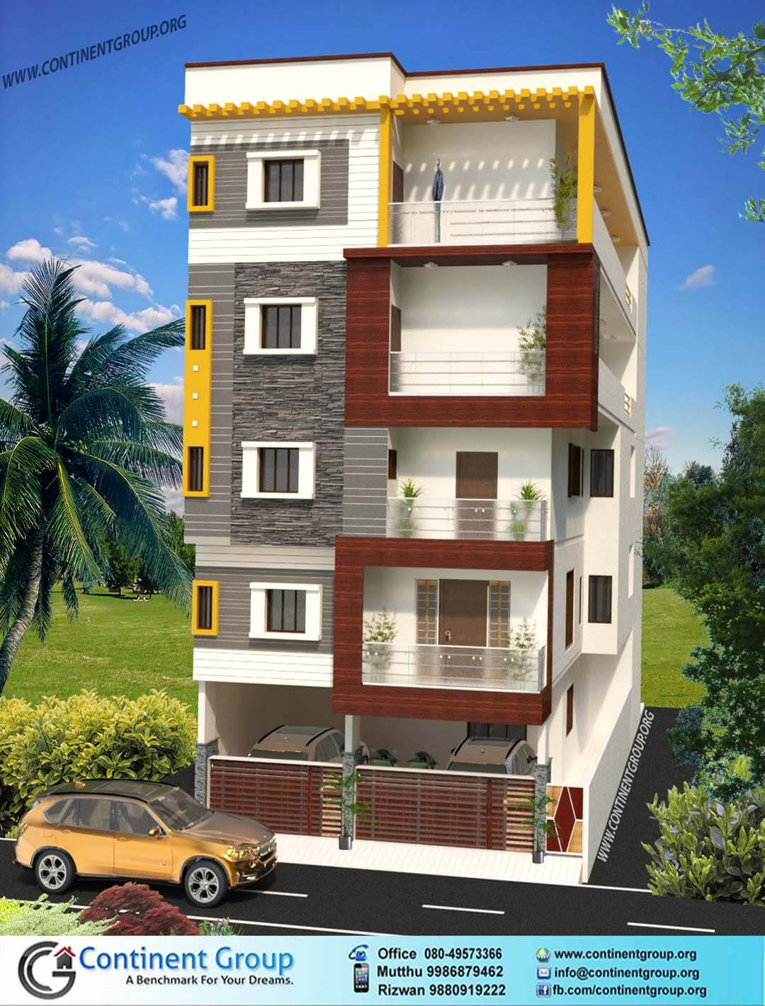 Project gallery building elevation 3d floor plan interior for House elevation for three floors building