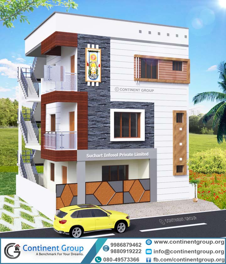 Front Elevation Of Building Part - 35: 3d Building Elevation 3d Front Elevation Bangalore