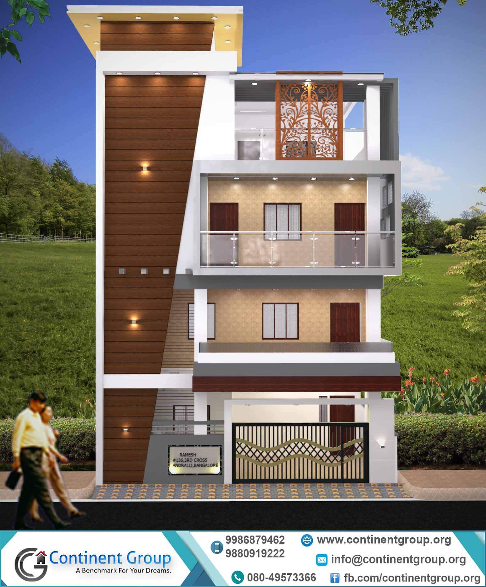 2 Storey Modern House Floor Plan 3d Building Elevation 3d Front Elevation Continent Group