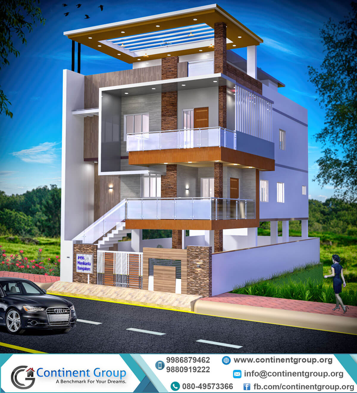 Building Elevation Design Part - 29: 3d Building Elevation Design Modern-3d Front Elevation