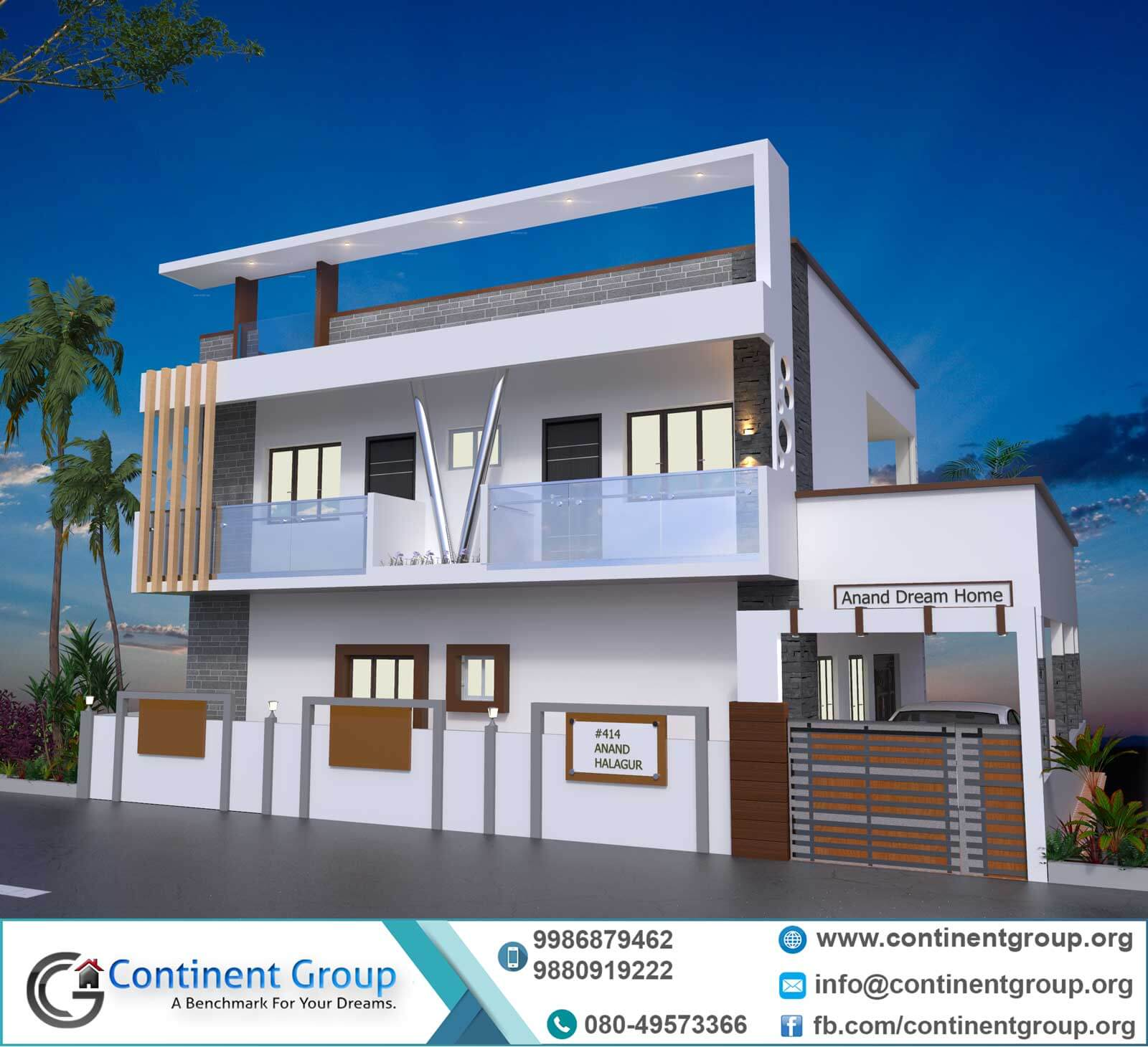 3d front elevation modern duplex house 3d building