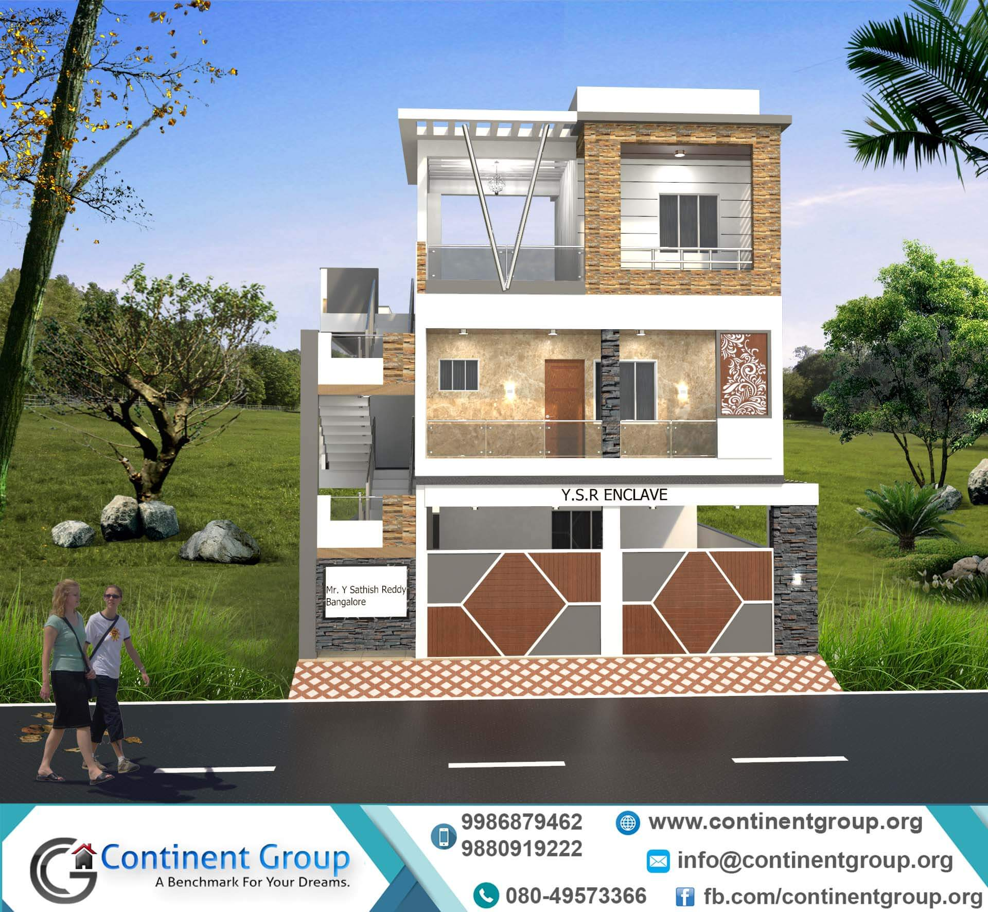 Front Design Of House In Bangalore Part - 40: Front Elevation Design Modern New-3d Building Elevation Design. Building  Elevation Services Bangalore