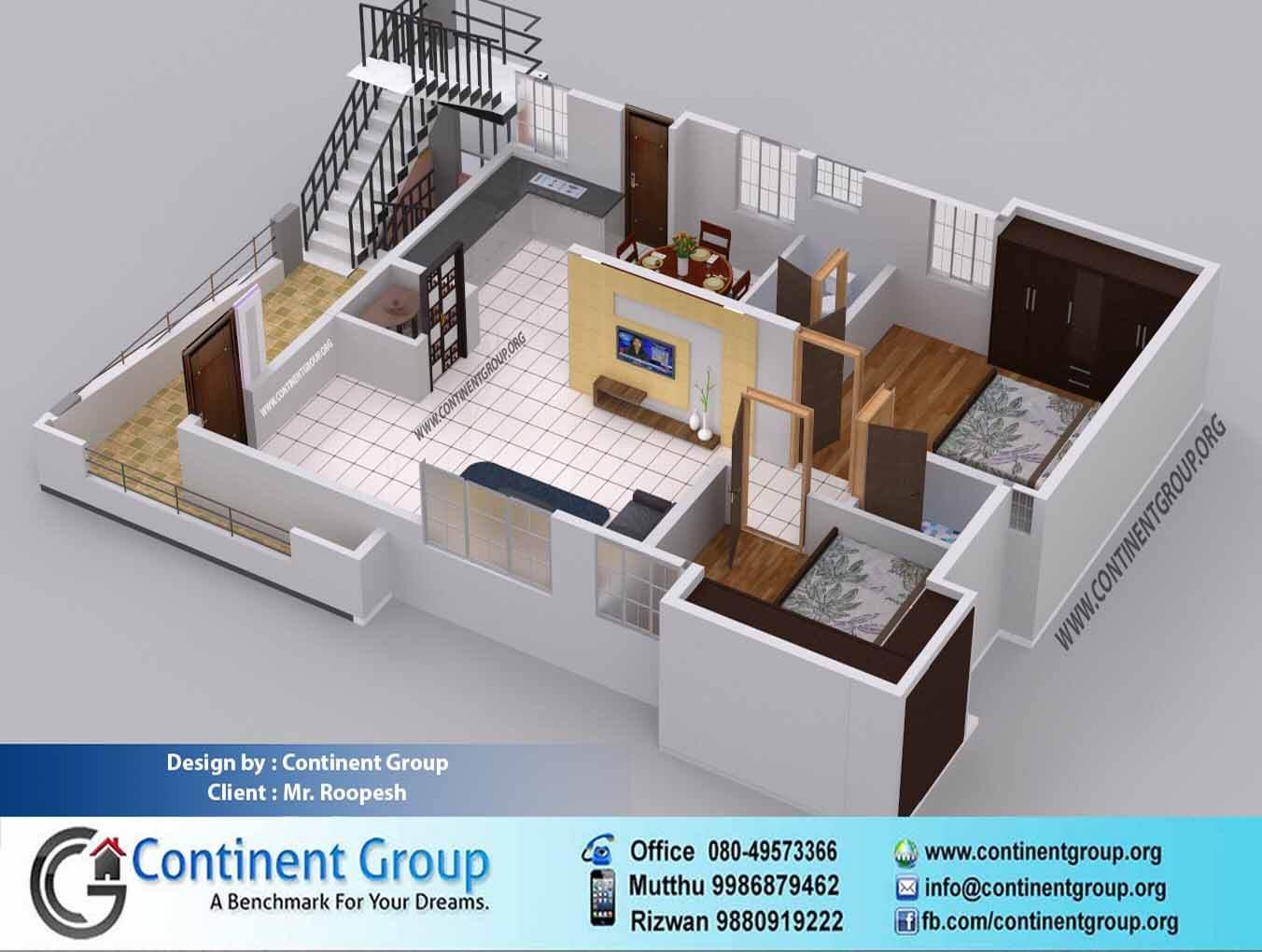 3d floor plan service bangalore 2bhk 2 bedroom