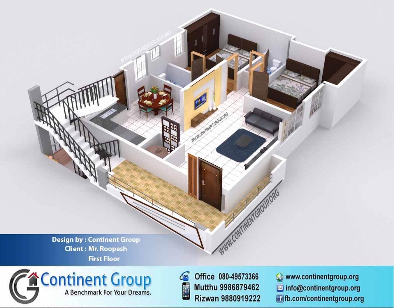 3d floor plan service 3d floor plan 2 bedroom 2bhk