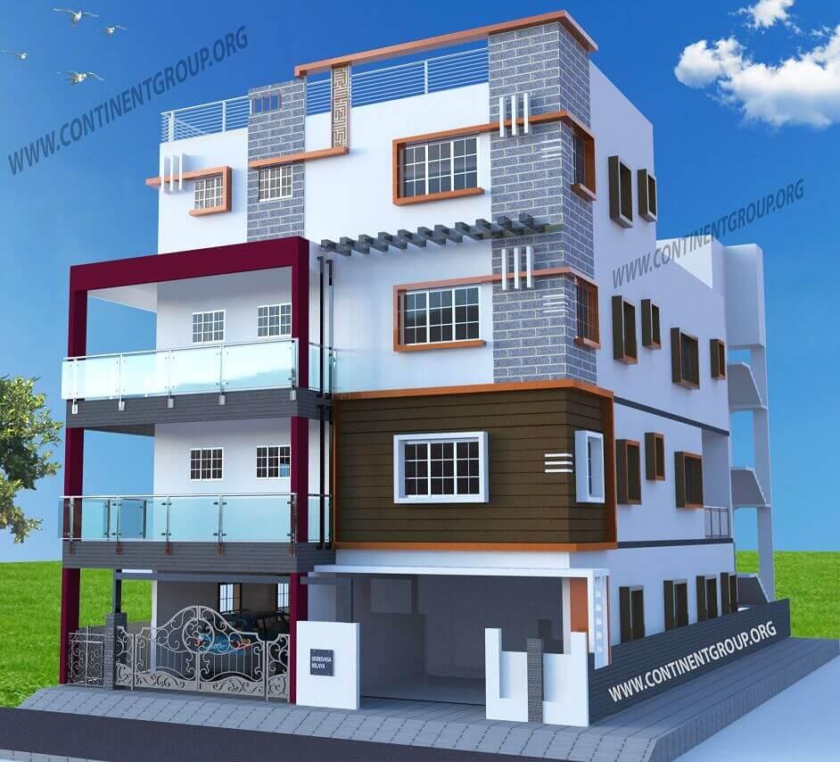 3D Architectural Visualization in Bangalore building-front-elevation-3d-bangalore-unique