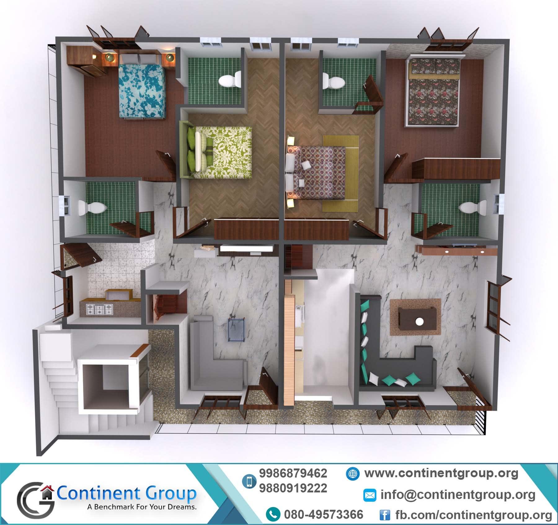 3d floor plan modern