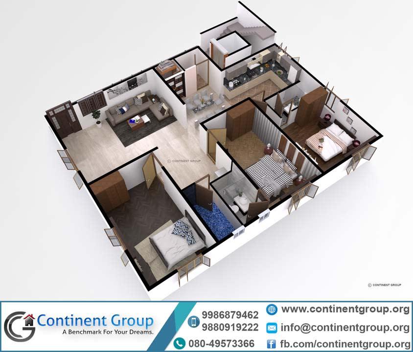 3d foor plan unique design modern bangalore