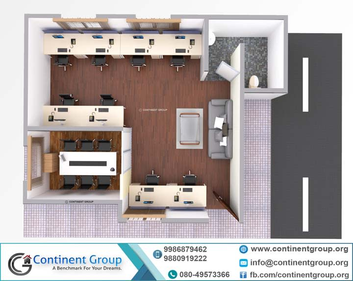 3d floor plan top view office interior Bangalore top