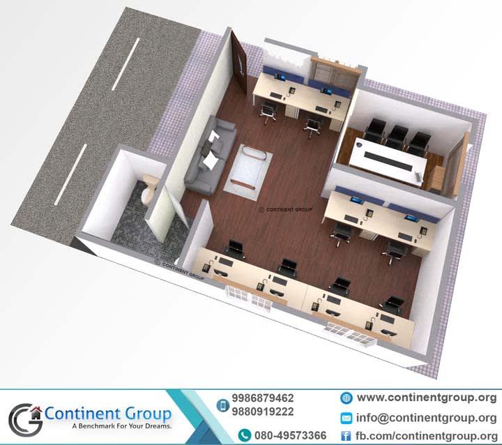 3d floor plan office interior Bangalore