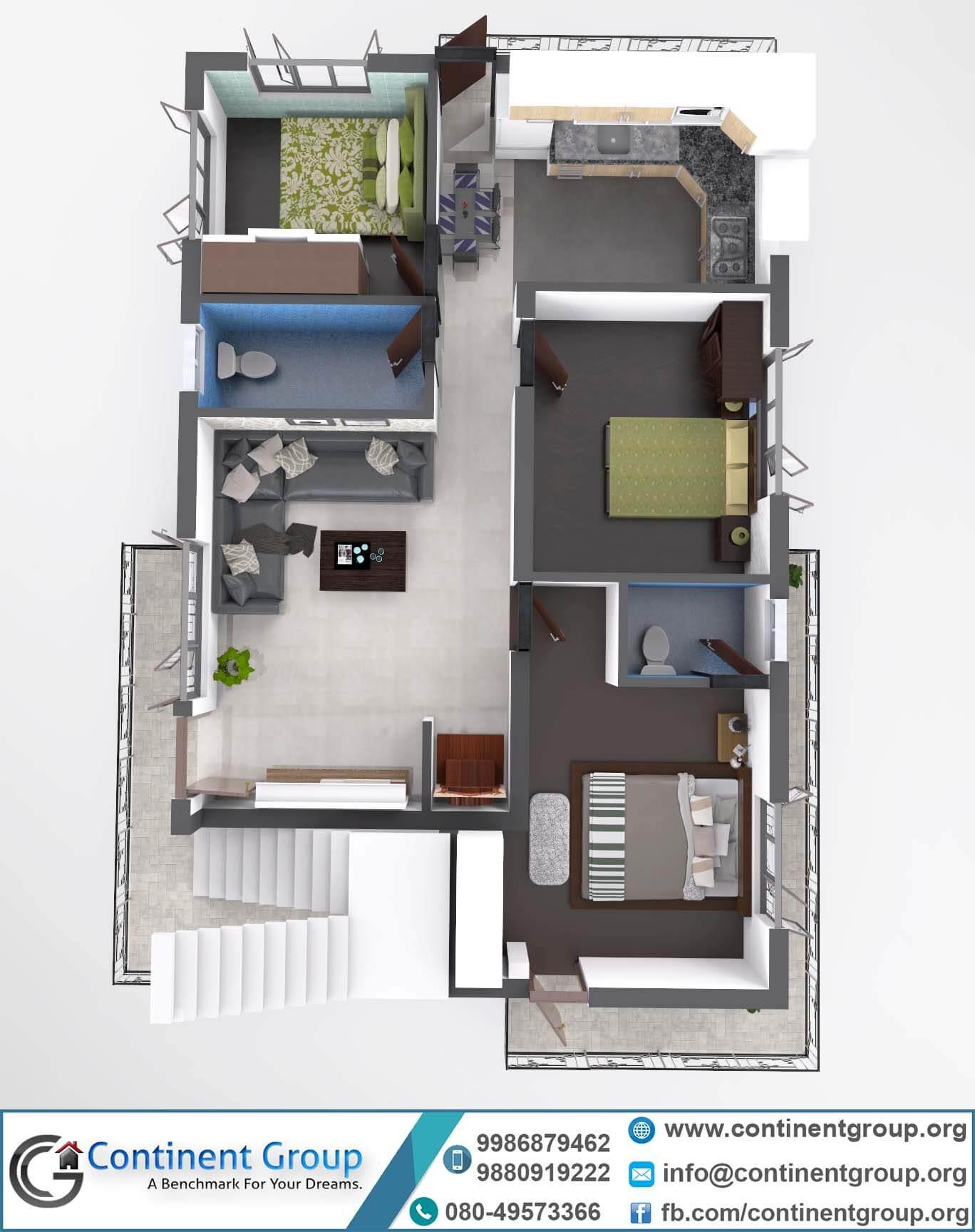 3d floor-floor plan modern