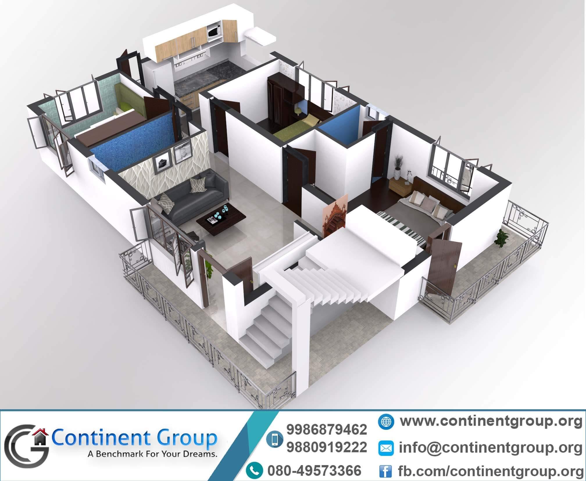 3d floor plan-Building plan