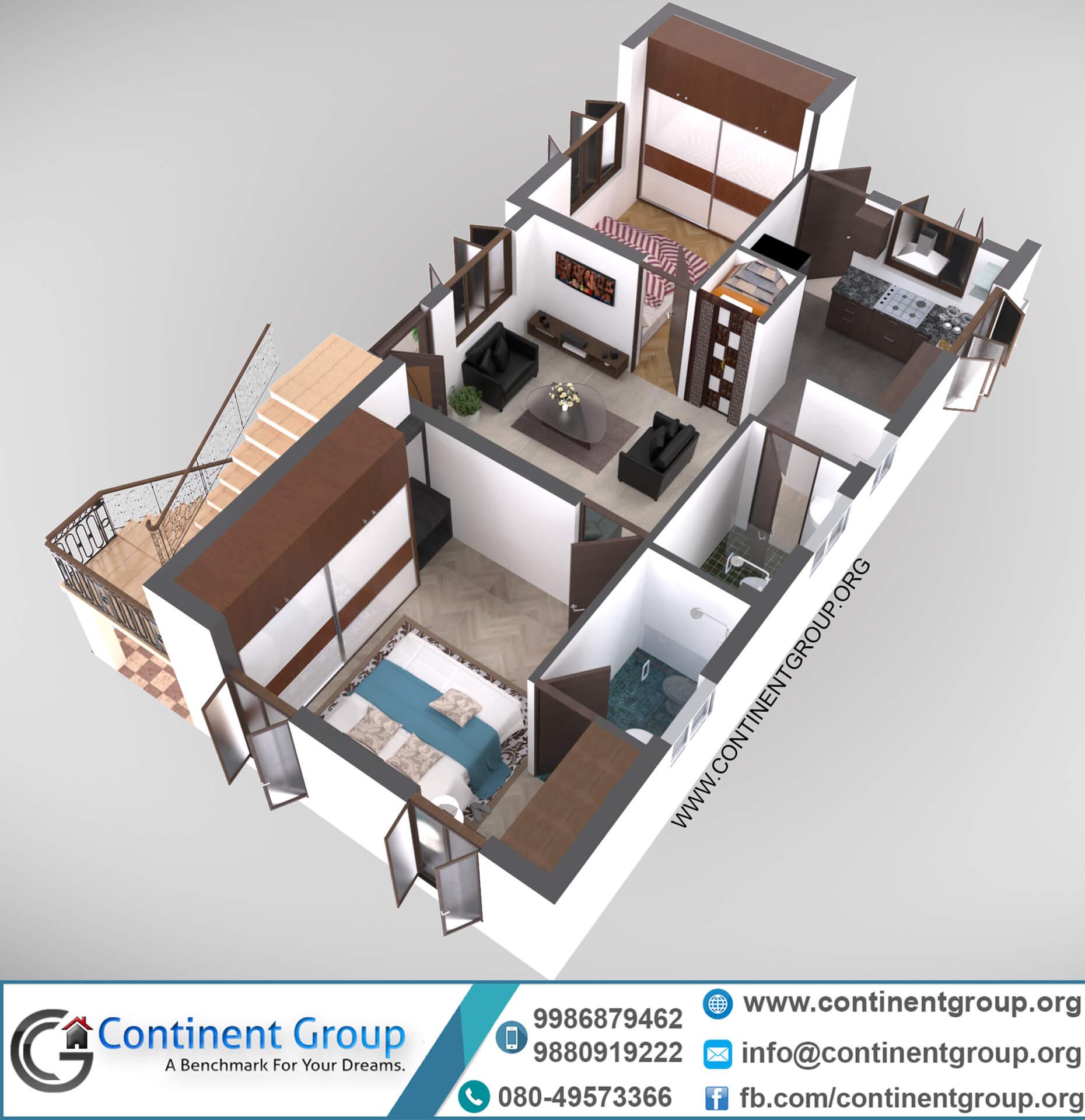 3d floor plan first floor modern