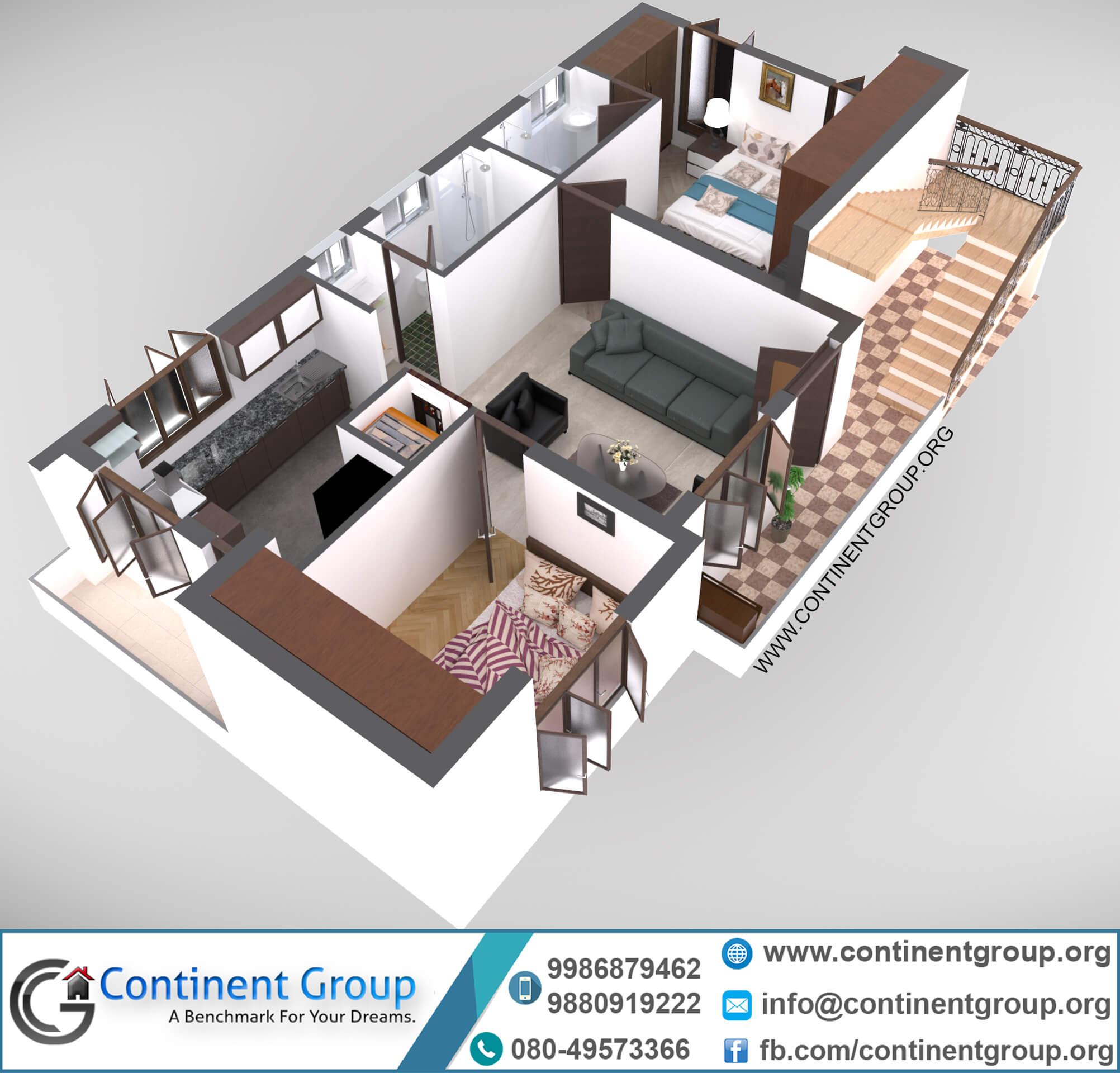 3d floor plan 2bhk