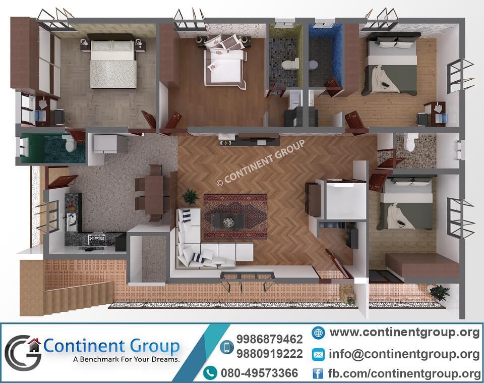 40x60 home plan-3d floor plan