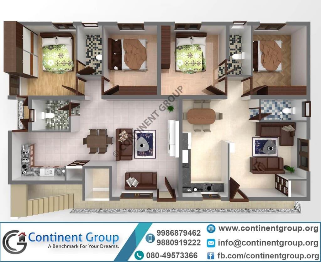 3d floor plan-40x60 plan-modern home plan