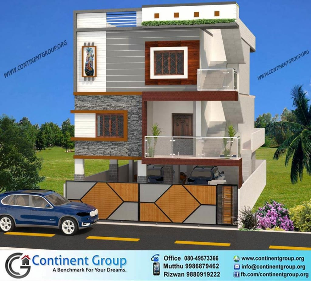 3d front elevation-3d building design-modern house