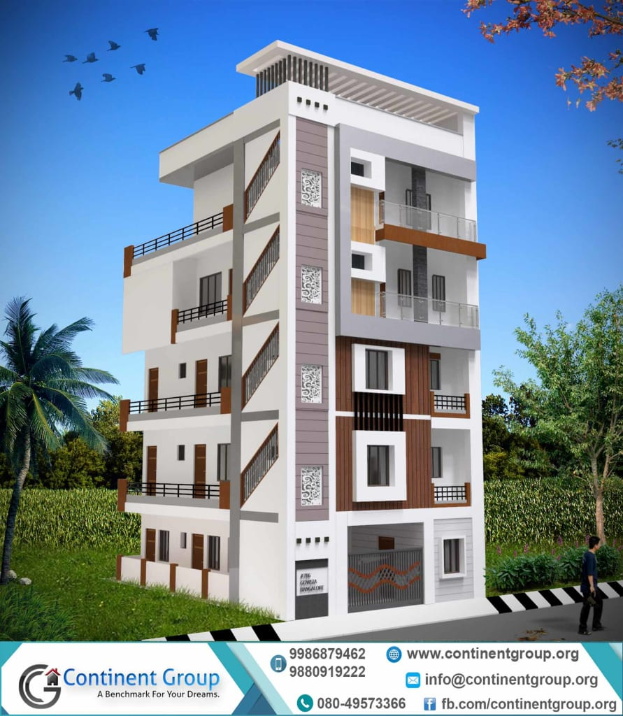 3d building elevation ground plus 4-g+4