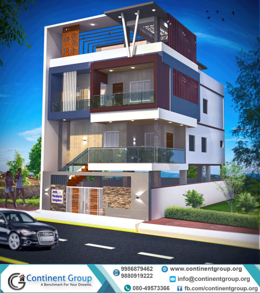3d front elevation-building design bangalore