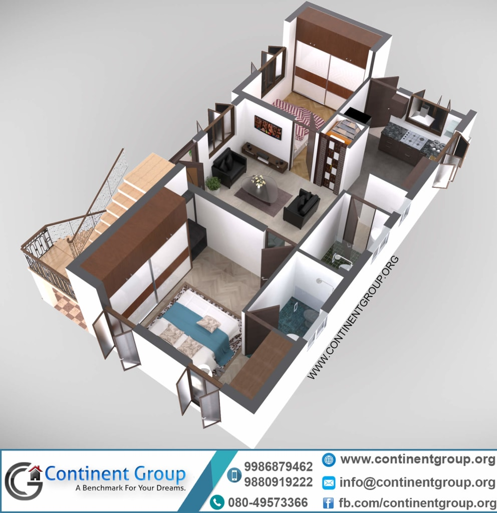 3d floor plan first floor modern
