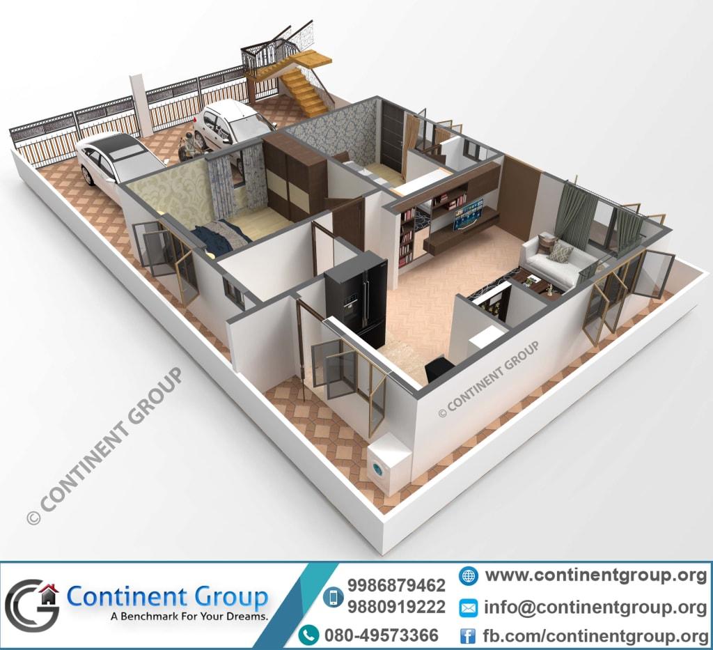 3D floor plan-building plan-30x40-3d plan