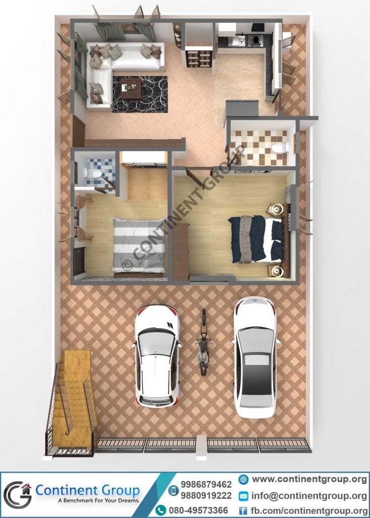 3D floor plan-building plan bangalore-top 3d modern plan
