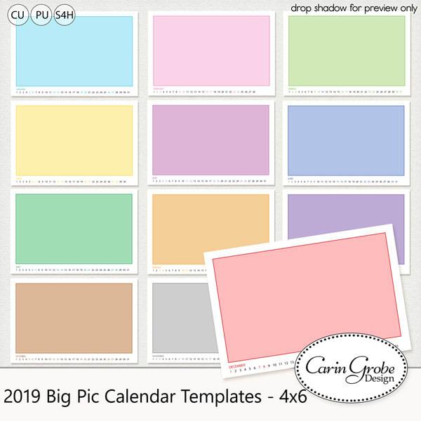 2019 Calendar Templates by Carin Grobe Design