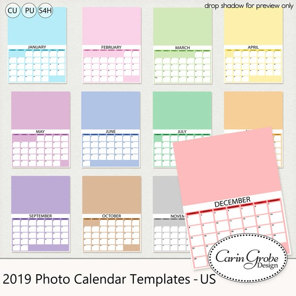 2019 Photo Calendar Templates letter size by Carin Grobe Design
