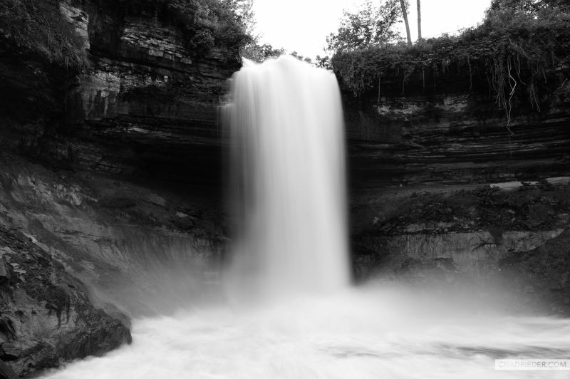 Minnehaha Falls Black White