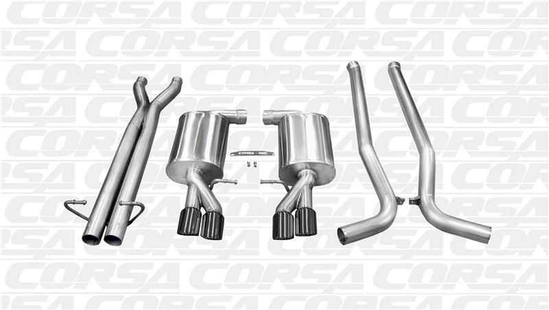 Corsa Polished Sport Cat-Back Dual Rear Exit with Twin Black Pro-Series Tips: Audi B7 S4