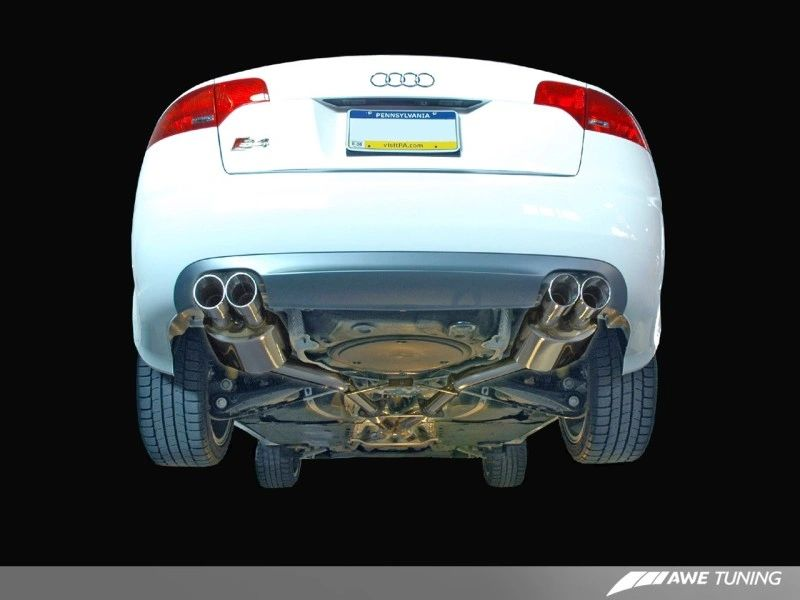 AWE Tuning Touring Edition Exhaust - Polished Silver Tips: Audi B7 S4