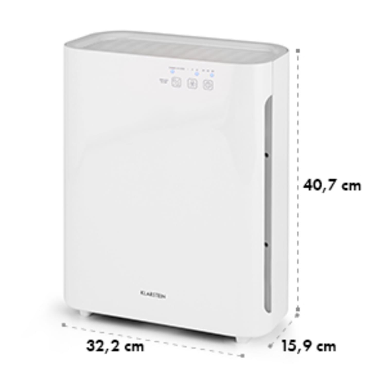 Klarstein Vita Pure 2G ilmanpuhdistin ionisaattori | 5-vaiheinen HEPA suodatin: 99,97% suodatusteho yhdistelmäsuodattimen | 50 m² | 30dB | 55 W | UV-C | kosketus | valkoinen