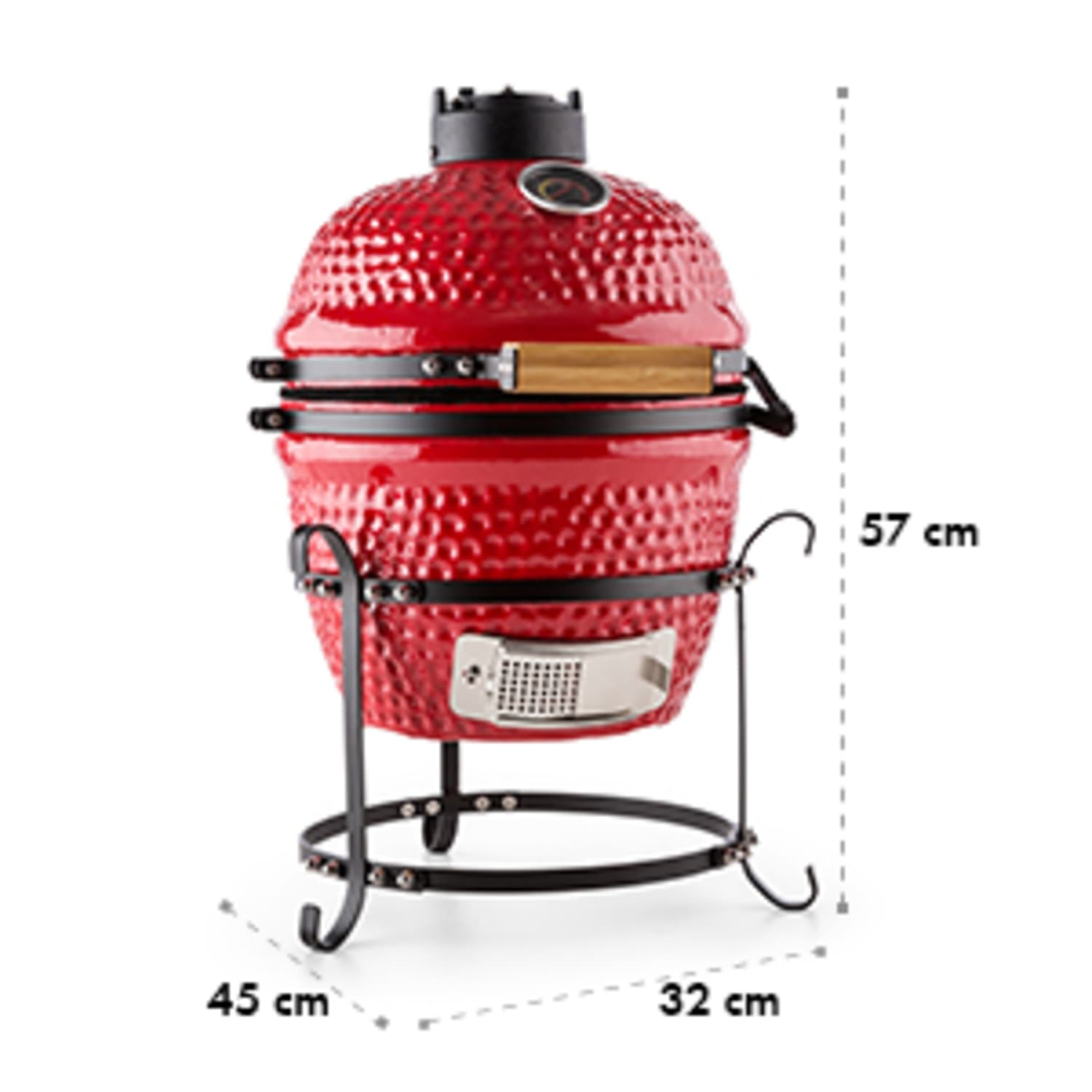 """Prince-sized Kamado Grill Ceramic Grill Oven 11"""" Smoker BBQ Slow Cooking red"""