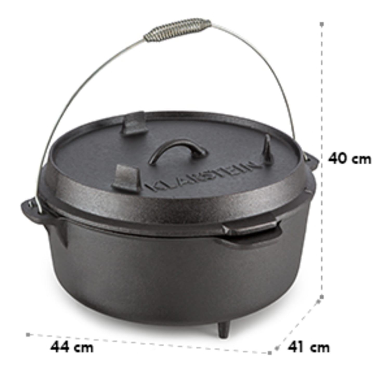 Klarstein Hotrod 145 öntöttvas fazék, barbecue fazék, 12 qt / 11,4 liter, öntöttvas, fekete
