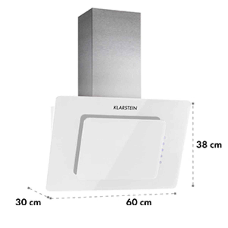 Klarstein Lorea cap extractor gratuit 60 cm 280 m³ / h sticlă Touch alb