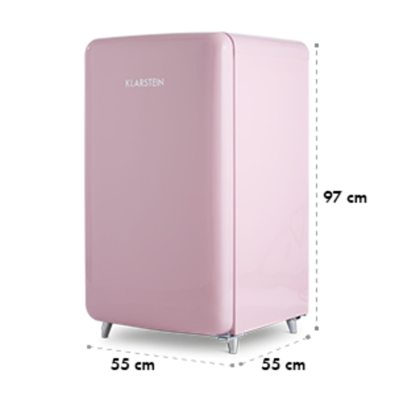 PopArt Pink retro chladnička A++, 108 l / 13 l mraziarenský priestor, ružová