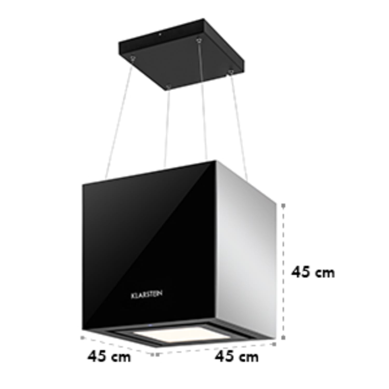 Hotte aspirante îlot suspension plafond LED Verre réfléchissant - noir