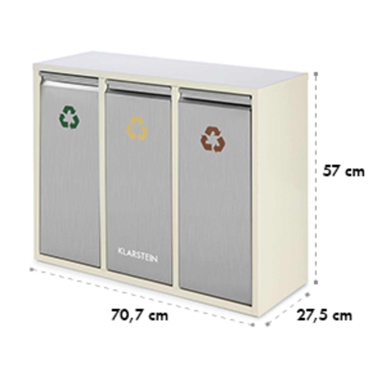 Ordnungshüter 3 Mülleimer Mülltrenner 45L (3 x 15 L) cremebeige
